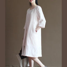 Laden Sie das Bild in den Galerie-Viewer, Original design pink linen sundress summer half sleeve dresses