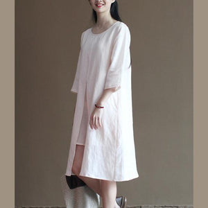 Original design pink linen sundress summer half sleeve dresses