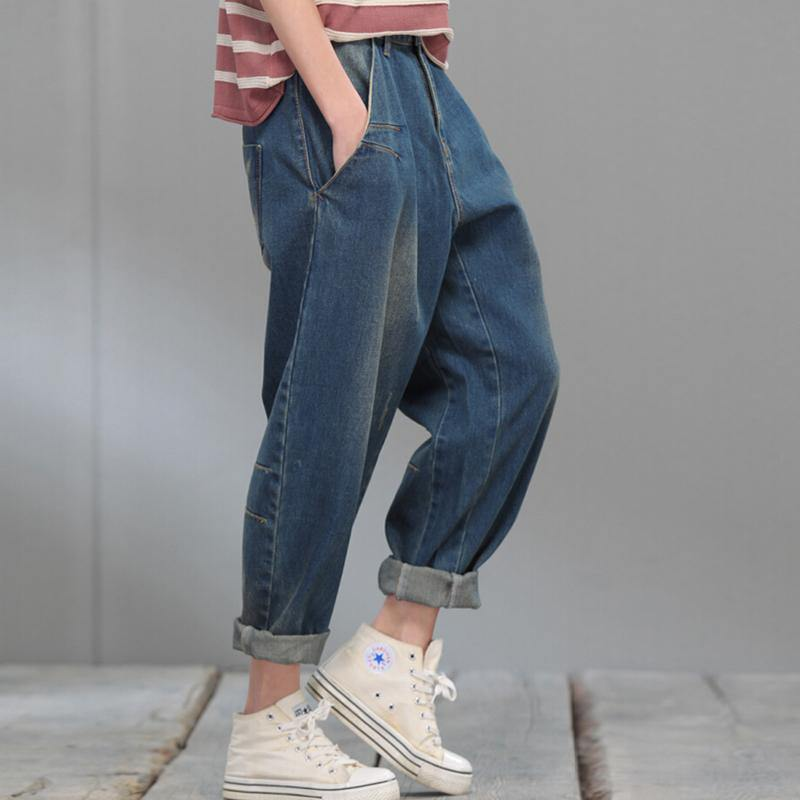 Oversize blue denim pants plus size jeans crop trousers
