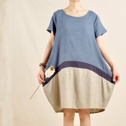 Oversize blue shirt dress plus size summer dresses