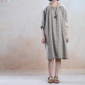 Oversize maxi dress summer grid cotton sundress loose fitting dress