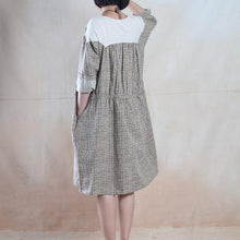 Load image into Gallery viewer, Oversize maxi dress summer grid cotton sundress loose fitting dress
