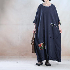 Oversize navy linen maxi dress plus size linen sundress - travel alone