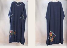 Load image into Gallery viewer, Oversize navy linen maxi dress plus size linen sundress - travel alone