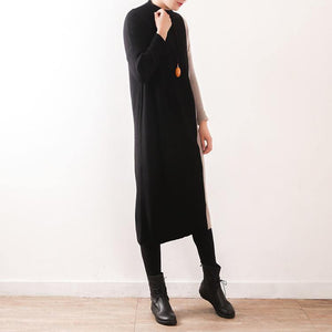 Oversized Sweater dress outfit Moda high neck patchwork black Mujer knit dress