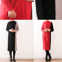 Load image into Gallery viewer, Oversized Sweater dress outfit Moda high neck patchwork black Mujer knit dress