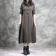 Load image into Gallery viewer, Oversized Sweater dress outfit thick khaki daily knit high neck dress