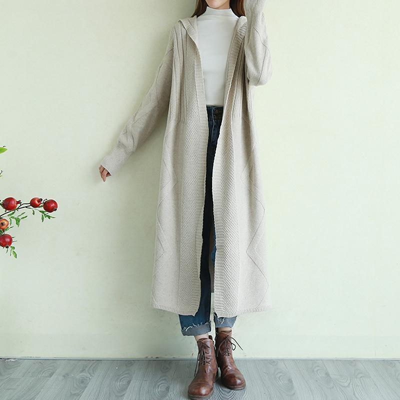 Oversized beige knit jacket plus size clothing hooded knit warm outwear