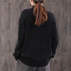 Oversized black knit blouse plus size clothing high neck knit sweat tops wild