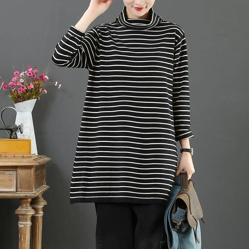Oversized black sweater tops high neck plus size clothing striped knitted blouse
