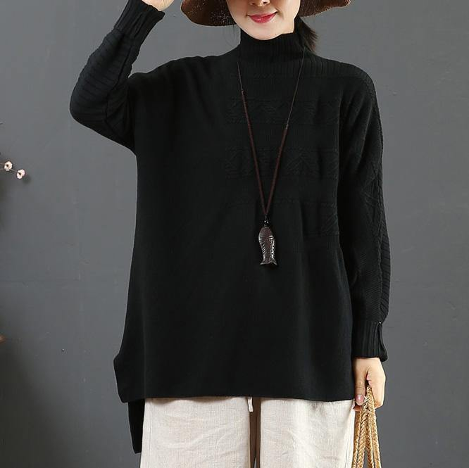 Oversized black sweater tops winter plus size clothing high neck sweaters