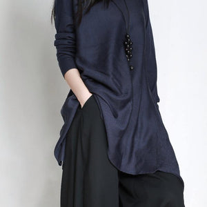 Oversized blue Sweater Wardrobes plus size asymmetric daily o neck sweater dress