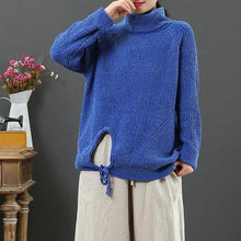 Load image into Gallery viewer, Oversized blue knit blouse drawstring hem trendy plus size high neck knitwear