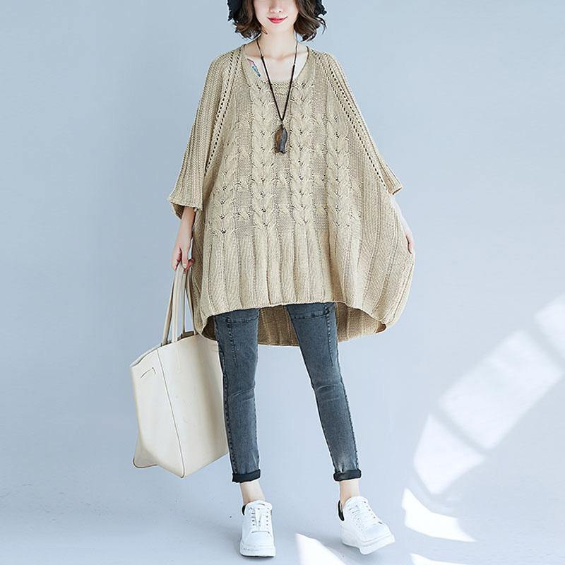 Oversized bracelet sleeved knitted top plus size hollow out knit tops khaki