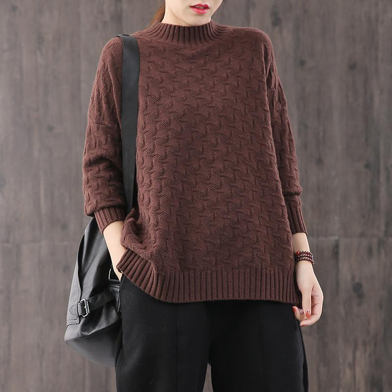 Oversized chocolate knit blouse fall fashion knit sweat tops Women yellow khit top silhouette plus size sweaters high neck
