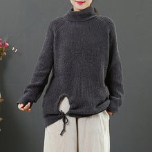 Load image into Gallery viewer, Oversized gray Blouse winter plus size high neck knit tops