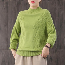 Load image into Gallery viewer, Oversized green knit tops casual high neck knit blouse
