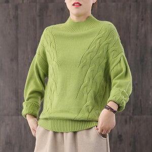 Oversized green knit tops casual high neck knit blouse