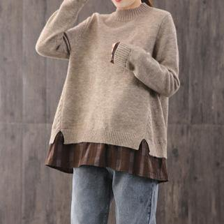 Oversized khaki Blouse oversized winter knitted blouse false two pieces