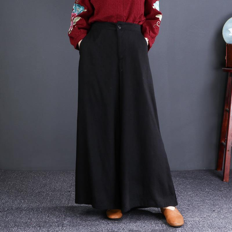 Oversized wide leg pants weather Women black casual long pant