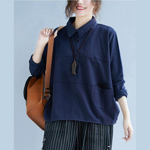 POLO collar cotton Long Shirts Sewing blue blouse autumn