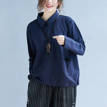 Load image into Gallery viewer, POLO collar cotton Long Shirts Sewing blue blouse autumn