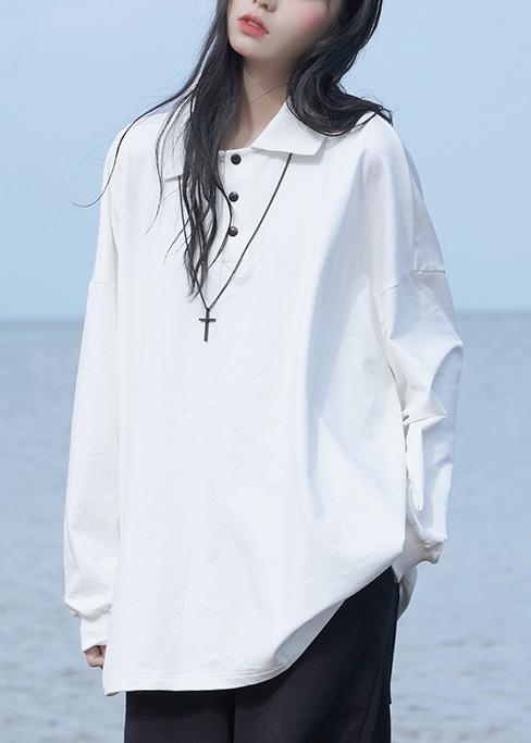 POLO collar long-sleeved T-shirt white