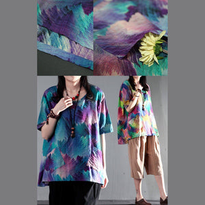 Painted rainbow yellow cotton t shirt women summer blouse top