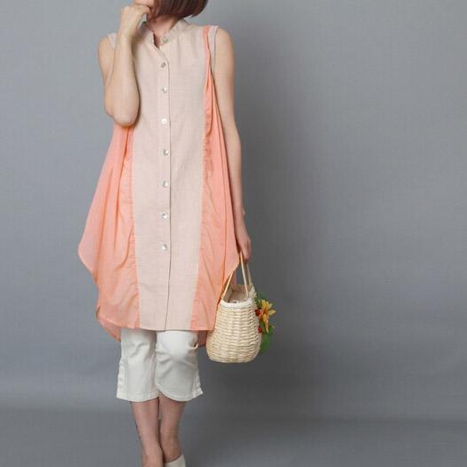 Peach pink sundress sleeveless tank linen summer dress plus size