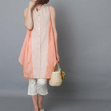 Load image into Gallery viewer, Peach pink sundress sleeveless tank linen summer dress plus size