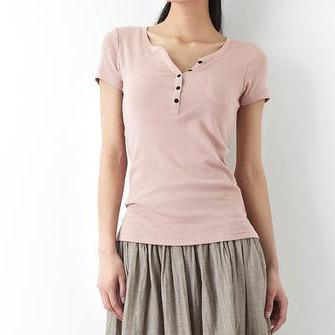 Pink V neck natural cotton t shirt women summer blouse top