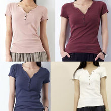 Load image into Gallery viewer, Pink V neck natural cotton t shirt women summer blouse top