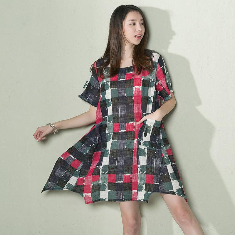 Pink asymmtric plaid linen sundress plus size shift dress