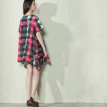 Load image into Gallery viewer, Pink asymmtric plaid linen sundress plus size shift dress