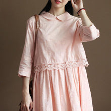 Load image into Gallery viewer, Pink cotton sundress retro lace trim casual summer dresses