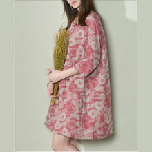 Load image into Gallery viewer, Pink daisy print shift dress oversize linen sundress plus size holiday dresses