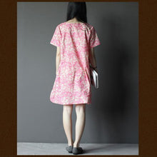 Load image into Gallery viewer, Pink floral V neck shift dresses plus size summer maternity dress sundress