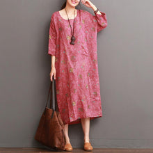 Load image into Gallery viewer, Pink half sleeve floral linen dresses summer linen maxi dress