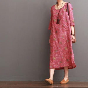 Pink half sleeve floral linen dresses summer linen maxi dress