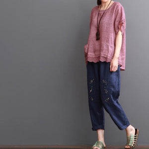 Pink linen blouse summer women shirt lace patchwork