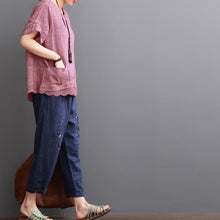 Laden Sie das Bild in den Galerie-Viewer, Pink linen blouse summer women shirt lace patchwork