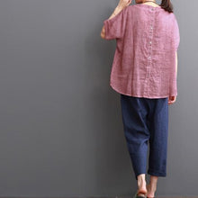 Load image into Gallery viewer, Pink linen blouse summer women shirt lace patchwork