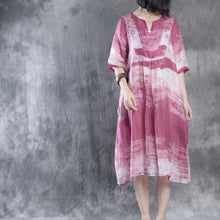 Load image into Gallery viewer, Pink linen caftans plus size linen dresses long maxi dress sundresses