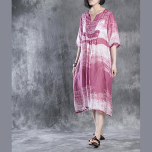 Pink linen caftans plus size linen dresses long maxi dress sundresses