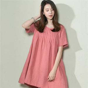 Pink linen sundress oversize linen summer shift dress maternity dress