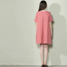 Load image into Gallery viewer, Pink linen sundress oversize linen summer shift dress maternity dress