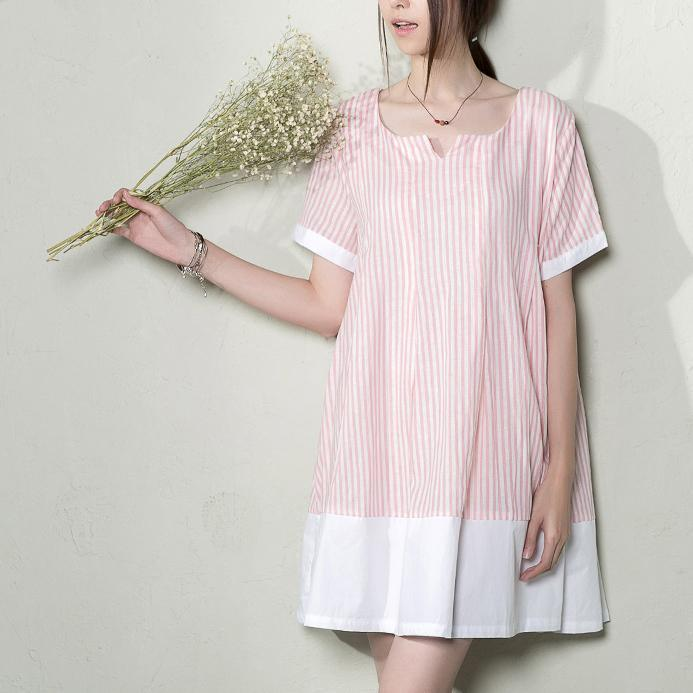 Pink natural linen striped shift dress plus size summer maternity dresses