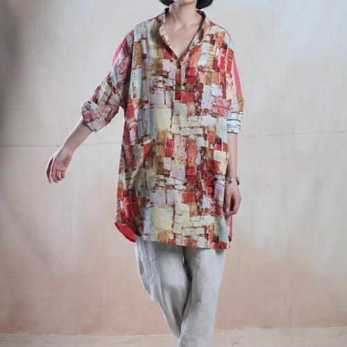 Pink oversize women linen shirt dress long sleeve linen blouse top