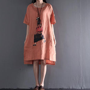 Pink plus size sundress linen summer maxi dresses travel clothing