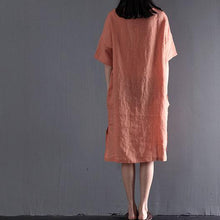 Load image into Gallery viewer, Pink plus size sundress linen summer maxi dresses travel clothing